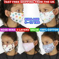 CHILDREN'S KIDS FACE MASK COTTON BREATHABLE VALVE WASHABLE REUSABLE 3 LAYERS UK