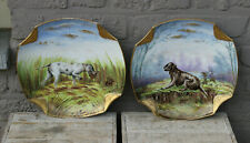 Vintage pair Limoges French porcelain Plates hunting dogs