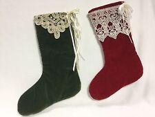 Victorian Style Christmas Stocking Red Green Handmade Lace Ribbon Velvet Set