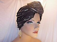 """Chemo Turban Twisted Top Knot Tichel Gold Frosted Black Ruffled  """"Something4you"""""""