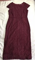 FERNE COTTON -Very Burgundy Wine Dark Red Lace Pencil Wiggle Midi Dress 14 Xmas
