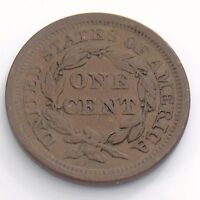 1854 Braided Hair 1 One Cent Copper Penny United States USA Circulated Coin H929