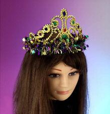 Mardi Gras Crown Tiara Gold Queen Fancy Dress Up Halloween Costume Accessory