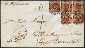 Dänemark 1858 Brief Skanderborg Bad Ems 7a 5x plus Barfrankierung 2 Sk FA Möller