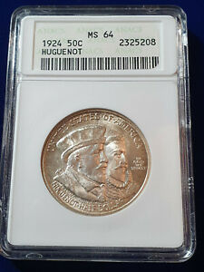 🌟1924 Huguenot Commemorative Silver Half Dollar -ANACS MS 64 GEM BU UNC US Coin