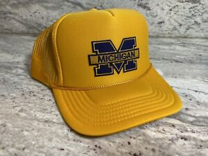NEW MICHIGAN WOLVERINES GOLD CAP HAT 5 PANEL HIGH CROWN TRUCKER SNAPBACK