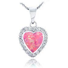 Sterlingsilber Künstlicher Pink Opal & Cubic Zirkonia Herz Halskette