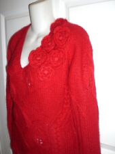 KENZO Red Chunky Fuzzy  Mohair Blend Embellished Sweater ~L