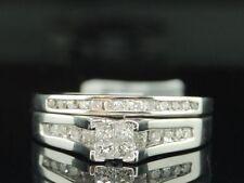 WOMENS WHITE GOLD PRINCESS CUT DIAMOND ENGAGEMENT BRIDAL WEDDING RING SET