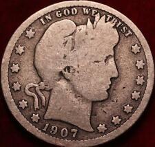 1907-D Denver Mint Silver Barber Quarter
