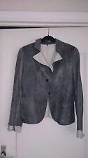 Veste courte en cuir léger gris/bleu 36