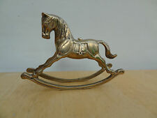 """Vintage SOLID BRASS ROCKING HORSE 7"""" Long PRETTY!!"""