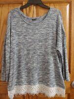 Womens Sweater Size L Large Blue White 3/4 Sleeve Oversized Crochet Trim Hem