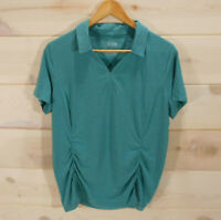 Duluth Trading Co Women's Sz L Polo Shirt Top Tee Teal Green Ruched Stretch