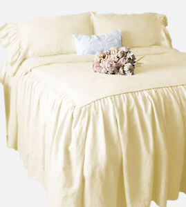 """Dust Ruffle Bed Skirt & Pillow Shams Set 30"""" drop Egyptian Cotton ALL SIZE COLOR"""