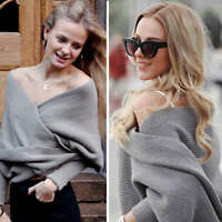 Womens Off the Shoulder Long Sleeve Chunky Knit Ladies V Neck Sweater Wrap Top