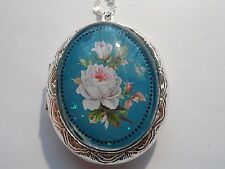 "SILVER PLATED VICTORIAN  WHITE ROSE OVAL LOCKET NECKLACE 26"" CHAIN"