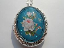 "STERLING SILVER PLATED VICTORIAN  WHITE ROSE OVAL LOCKET NECKLACE 26"" CHAIN"