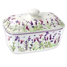 Jennifer Rose Gallery Watercolour Lavender Design Butter Dish Holder Lid Floral