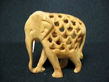 TWO in ONE = hand carved wooden ELEPHANT figures 2 in 1 = ONE WHOLE PIECE