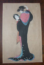 original Japanese woodblock early 20th c, depicts a maiko (beauty) with mirror