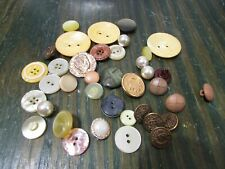 Lot of 35 Vintage Sewing or Craft Buttons, Assorted Sized Mother of Pearl Metal