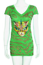 ED HARDY CHRISTIAN AUDIGIER LADIES TOP TUNIC 4 8 S $200 WOMEN COTTON TIGER GREEN