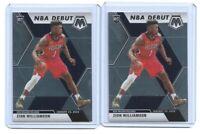 2 card lot 2019-20 Panini Mosaic NBA Debut #269 Zion Williamson Rookie Pelicans