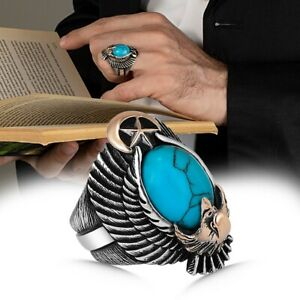 Solid 925 Sterling Silver Oval Turquoise Stone Eagle Figure Men's Ring