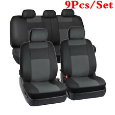 Black Artificial Leather 5-Seats Sedan SUV Car Seat Cover Front+Rear Seat Covers