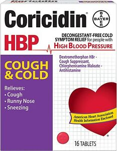 Coricidin HBP Antihistamine Cough & Cold Suppressant Tabs, 16 Tablets -CASE OF 5