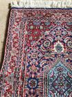 Pretty Vintage Oriental Rug Blues Reds Wool Hand Knotted
