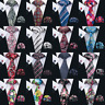 Men's Tie Set Black Red Blue Paisley Striped Checks Necktie Hanky Cufflinks Hot