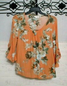 Anthropologie Coco & Jaimeson  Top Size M 3/4 Sleeve Summer Multicolored  Floral