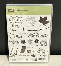 Stampin Up COLORFUL SEASONS Chair Leaves Fall Autumn Clear Rubber Stamps Set