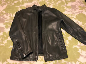 Abercrombie And Fitch Leather Jacket Cafe Moto Racer Mens Medium Vintage A+F