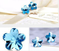 Sterling Silver Swarovski Element Crystal Plum Flower Stud Earrings Gift Box A40