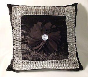 Black Crushed Velveteen Cushion Cover - Unique Diamanté Mirror Work Asian Design