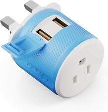 UK, Ireland, Dubai Travel Plug Adapter by OREI with Dual USB, USA Input + Surge