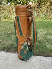 Vintage Titleist Green/Brown Tan Golf Cart Bag Vinyl Leather USA