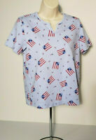 Classic Elements Womens Short Sleeve Knit Top Size S Patriotic Shirt