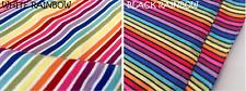 "Multi Striped Rainbow Jersey Knit Elastane 4W Stretch Rib Cuff Fabric 61"" wide"
