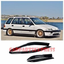 For 88-91 Honda Civic Wagon 5Dr Smoke Tinted JDM Side Window Visors Rain Guard