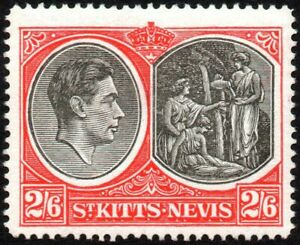 St. Kitts-Nevis 1943 2s.6d. King George VI, MH (SG#76a)