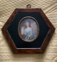 Antique Art Deco Bakelite Frame Miniature Hand Painted Picture Painting