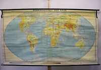 Schulwandkarte schöne alte physische Weltkarte 249x145cm vintage map loft 1959