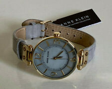 NEW! ANNE KLEIN GOLD-TONE GREY SUEDE GENUINE LEATHER BRACELET STRAP WATCH SALE