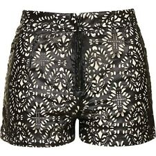 TopShop Boho Laser Cut Faux Leather Shorts by WYLDR Size XS Brand New