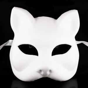 Gato Cat Blank Masquerade Mask - Venetian Cosplay Costume Party DIY Mask W7340