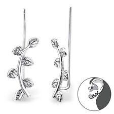 Sterling Silver 925 Leaf / Branch Ear Cuff Pierced Earrings